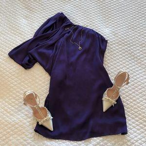 Cache Royal Purple Single Shoulder Mini-dress